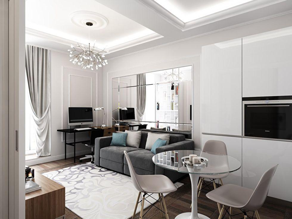 Дизайн интерьера «4в1»: гостиная, кухня, столовая и рабочее место - фото 1