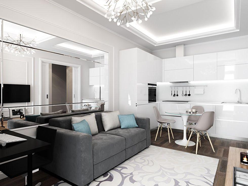 Дизайн интерьера «4в1»: гостиная, кухня, столовая и рабочее место - фото 3