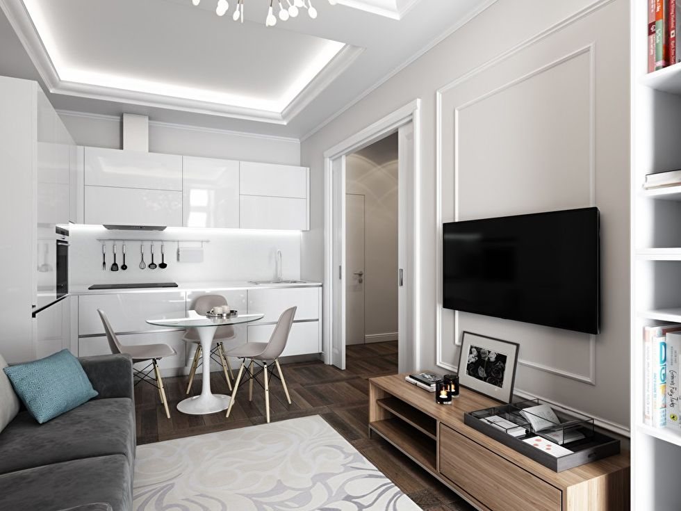 Дизайн интерьера «4в1»: гостиная, кухня, столовая и рабочее место - фото 4