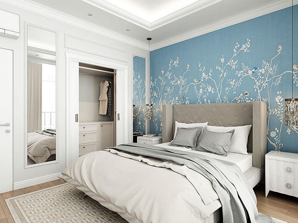 Интерьер спальни, ЖК «Смольный парк», квартира 82 кв.м. - фото 2