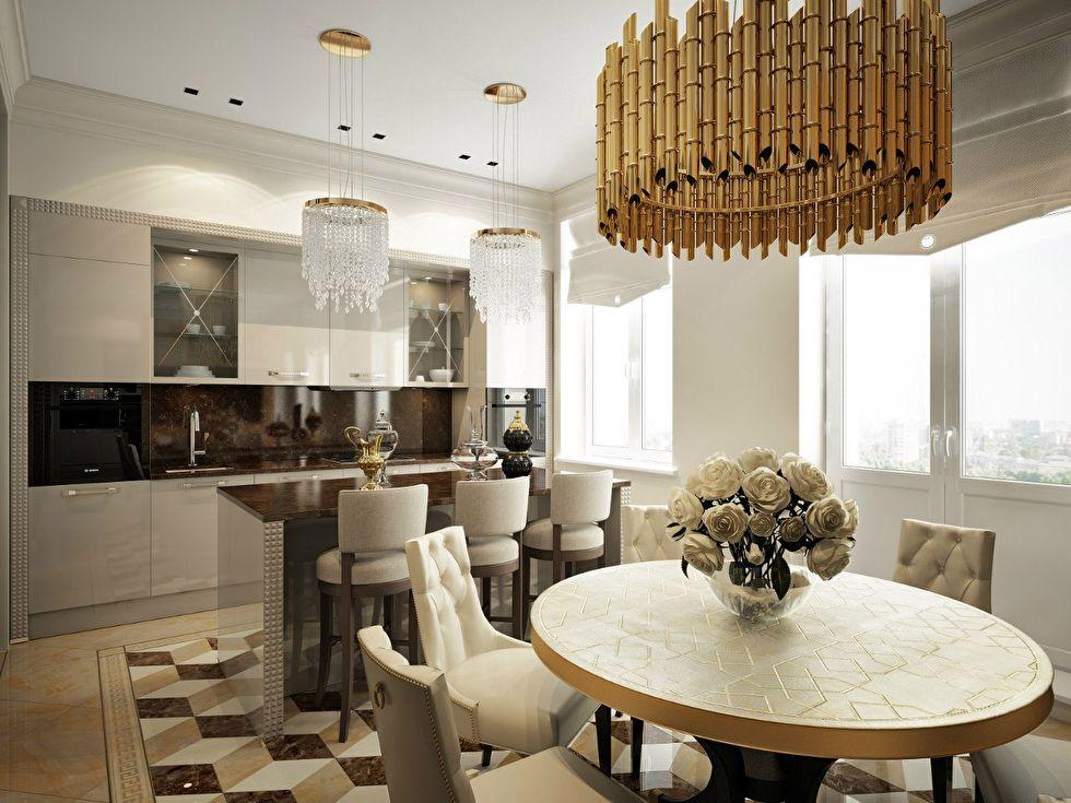 Дизайн кухни-столовой, квартира в стиле ар-деко - фото 1