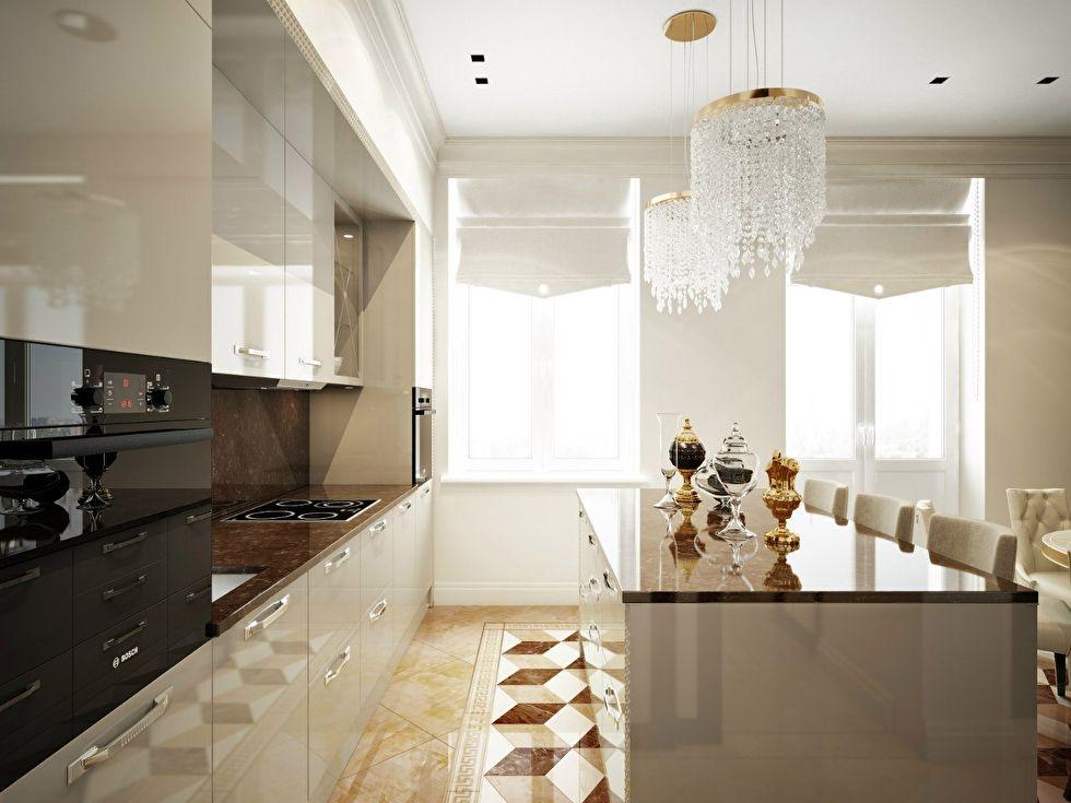 Дизайн кухни-столовой, квартира в стиле ар-деко - фото 2