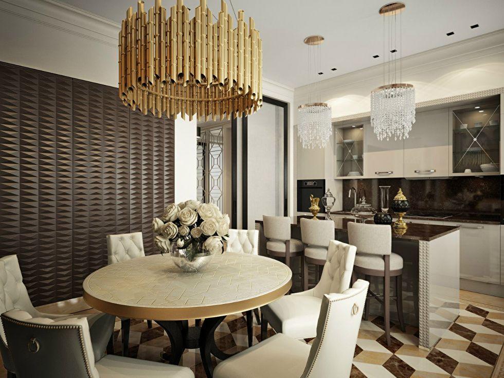 Дизайн кухни-столовой, квартира в стиле ар-деко - фото 3