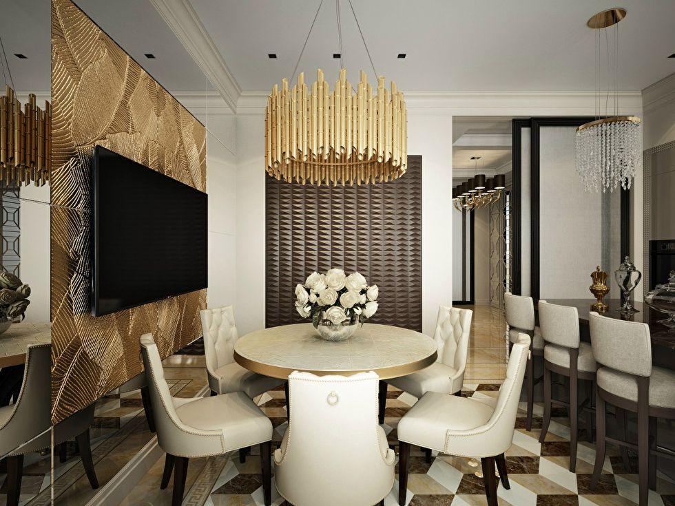 Дизайн кухни-столовой, квартира в стиле ар-деко - фото 4